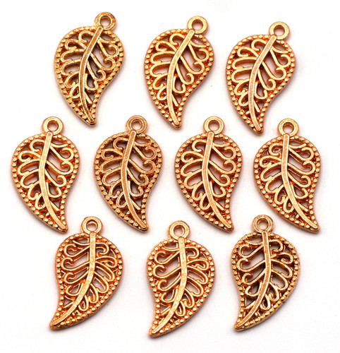 10pc 18x10mm Filigree-Style Leaf Charms, Rose Gold Finish