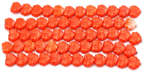 12pc Strand 11x13mm Czech Pressed Glass Maple Leaf Beads, Opaque Varied Red