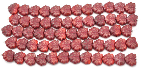 12pc Strand 11x13mm Czech Pressed Glass Maple Leaf Beads, Deep Varied Red