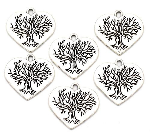 6pc 23mm Heart Tree Chamrs, Antique Silver