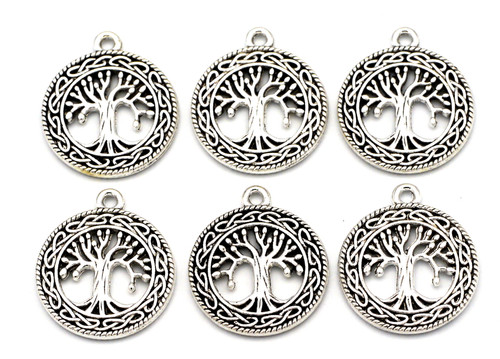 6pc 25x22mm Celtic Tree Charms, Antique Silver