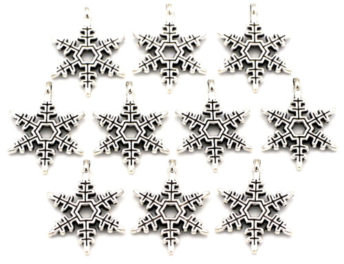 10pc 24x18mm Snowflake Charms, Antique Silver
