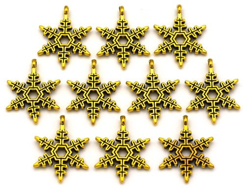 10pc 24x18mm Snowflake Charms, Antique Gold