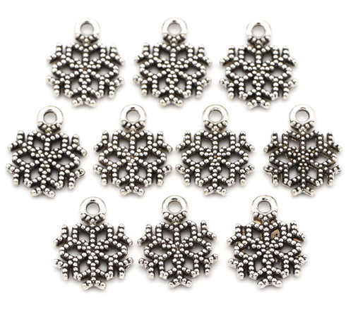 10pc 15x12mm Snowflake Charms, Antique Silver