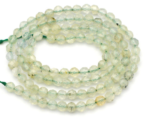 """Approx. 14.5"""" Strand 3.5mm Faceted Prehnite Round Beads"""