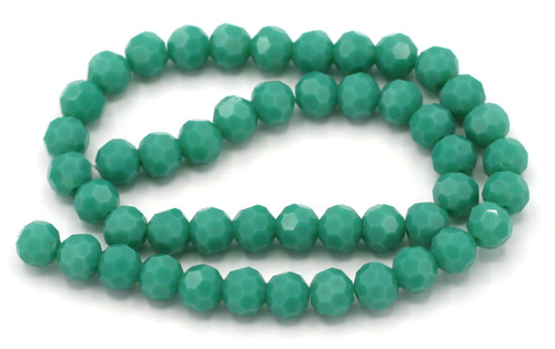 """Approx. 10"""" Strand 6mm Crystal Round Beads, Turquoise Green"""