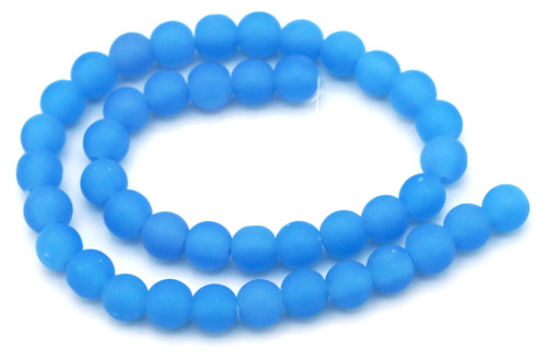 """11"""" Strand 8mm Semi-Round Glass Beads, Frosted Powder Blue"""