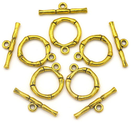 5 Sets 20x26mm Bamboo Toggle Clasps, Antique Golden