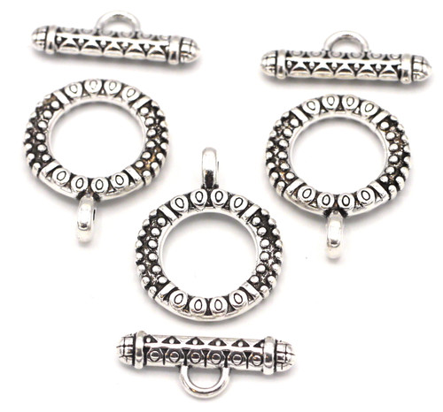 3 Sets 18x23mm Ornate Round Toggle Clasps, Antique Silver