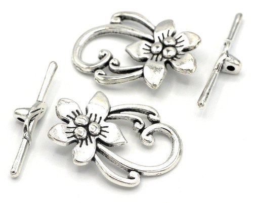 2 Sets 30x19mm Flower Toggle Clasps, Antique Silver Finish