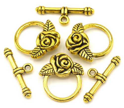 3 Sets 19x24mm Rose-Accent Toggle Clasp, Antique Golden