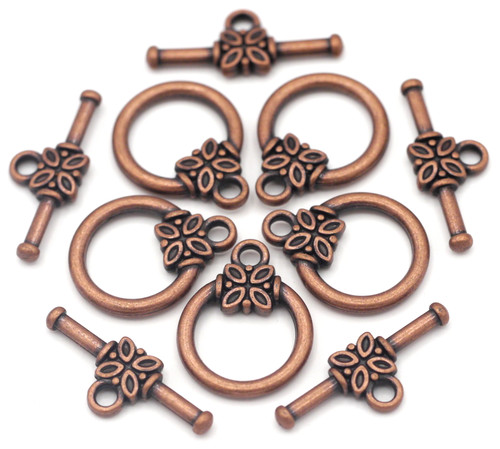 5 Sets 17x21mm Embellished Toggle Clasp, Antique Copper