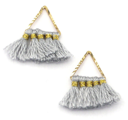 2pc 15mm Triangle Tassel Drops, Light Gray