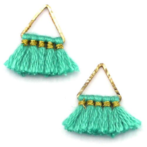 2pc 15mm Triangle Tassel Drops, Turquoise Green