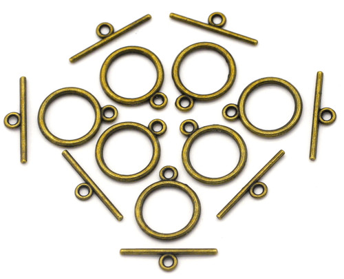 7 Sets 15x21mm Round Toggle Clasp, Antique Bronze