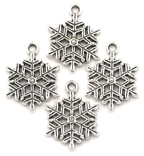 4pc 22x19.5mm Snowflake Charms, Antique Silver