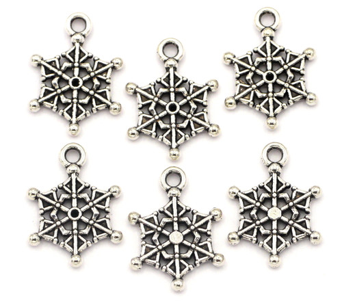 6pc 19x14mm Snowflake Charms, Antique Silver