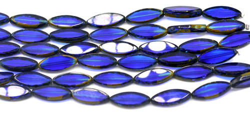 7pc 18x7mm Marquis Czech Table-Cut Glass Beads, Sapphire Blue/Picasso Accent