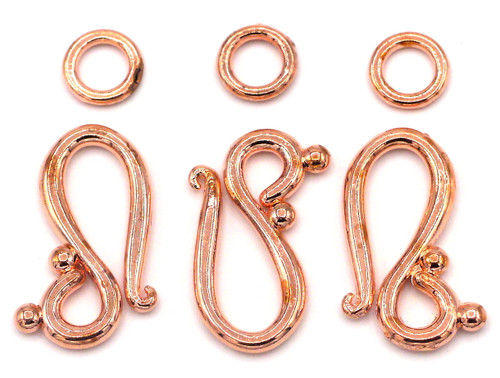 3 Sets 20.5mm Hook-and-Eye Clasps, Rose Gold Finish