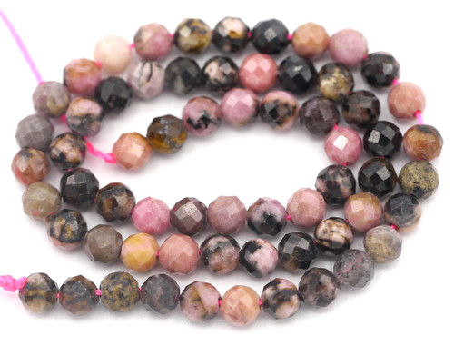 "7"" Strand 3.5mm Finely-Faceted Rhodonite Round Gemstone Beads"