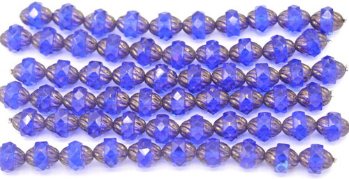 10pc Strand 11x10mm Cathedral Faceted Fire-Polished Wavy Turbine Beads,  Sapphire Metallic