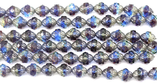10pc Strand 11x10mm Cathedral Faceted Fire-Polished Wavy Turbine Beads,  Sapphire/Violet/Metallic Luster