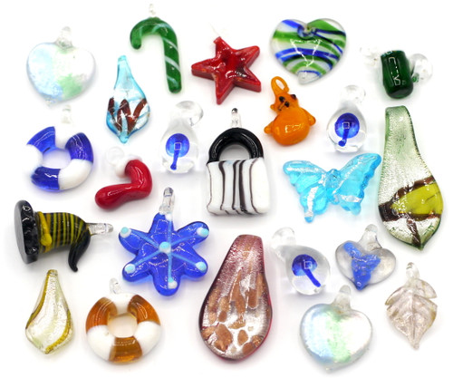 RANDOM PICK-- 4pc Mixed Lampwork Glass Pendants, Approx 12-32mm