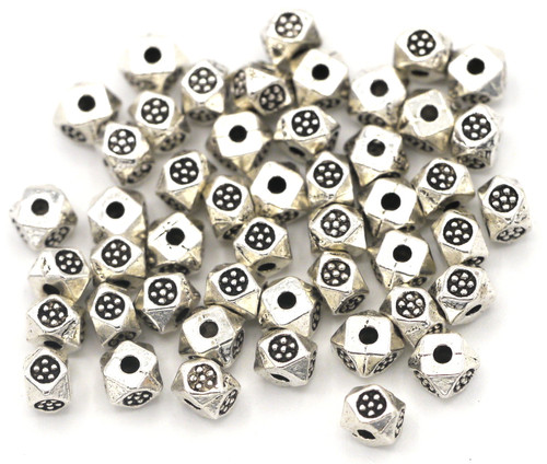 10 Gram Bag of 4x3mm Faceted Tribal Style Squaredelle Spacer Beads, Antique Silver