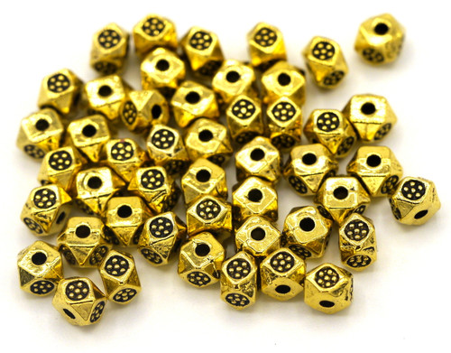10 Gram Bag of 4x3mm Faceted Tribal Style Squaredelle Spacer Beads, Antique Golden