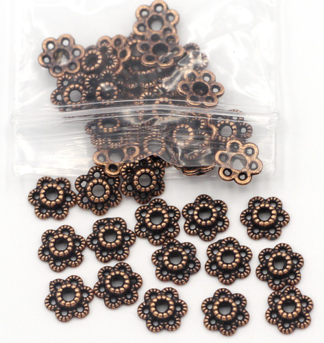 40pc 7mm 6-Petal Dotted Bead Cap, Antique Copper
