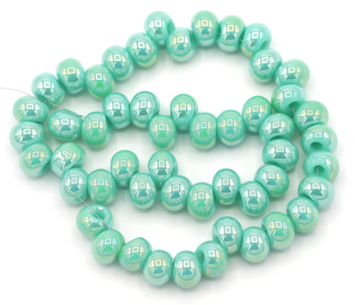 """6"""" Strand 6.5x4.5mm Top-Drilled Glass Rondelle Beads, Aqua Shimmer"""