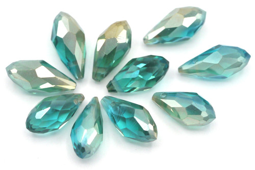 10pc 12x6mm Crystal Teardrop Briolette Beads, Teal Champagne