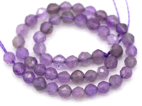 "7"" Strand 5.5-6mm Amethyst Faceted Round Beads"