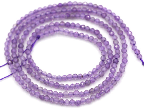 "14.5"" Strand 2mm Amethyst Finely-Faceted Round Beads"