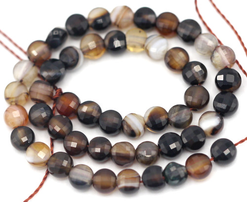"7"" Strand 4mm Black Agate Faceted Coin Beads"
