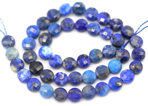 """7"""" Strand 4mm  Lapis Lazuli Faceted Coin Beads"""