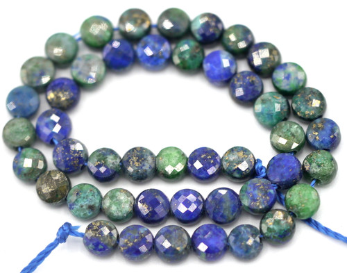 "7"" Strand 4mm ""Chrysocolla"" Lapis Lazuli Faceted Coin Beads"