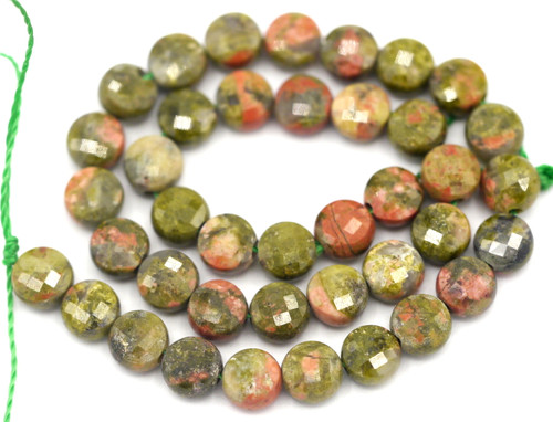 """7"""" Strand 4mm Unakite Faceted Coin Beads"""
