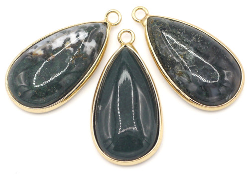 1pc Approx. 33x16mm Brass-Edged Moss Agate Teardrop Pendant, Gold Finish