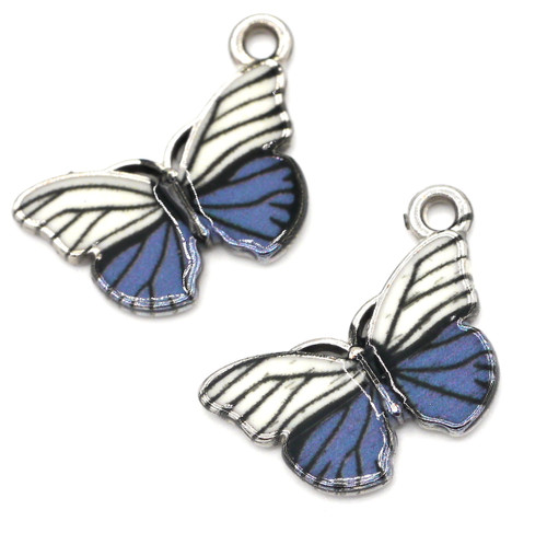 2pc 14x18mm Enamel Butterfly Pendant, White/Cadet/Silver Finish