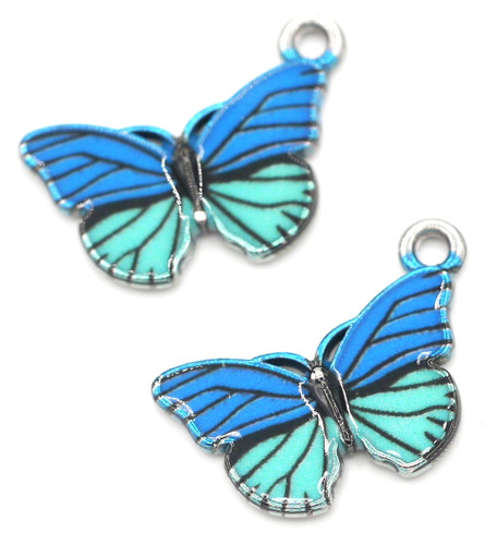 2pc 14x18mm Enamel Butterfly Pendant, Blue/Silver Finish