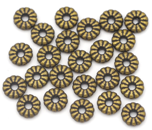 24pc 7x2mm Corrugated Donut Spacer Beads, Antique Bronze