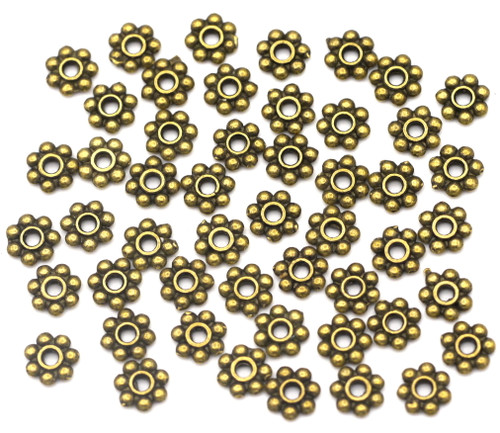 50pc 6mm Daisy Spacer Beads, Antique Bronze