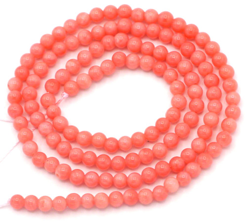 "14"" Strand Approx. 3mm Bamboo Coral Round Beads, Pink"