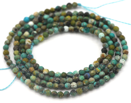 """Approx. 14"""" Strand 2.5mm Stabilized Turquoise Faceted Round Beads"""