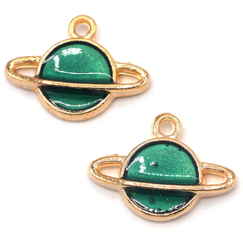 2pc 16x12mm Enamel Planet Charms, Gold/Teal