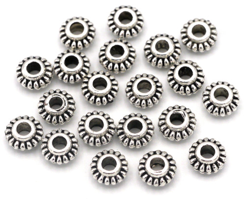 20pc 6x3.5mm Fluted Rondelle Spacer Beads, Antique Silver
