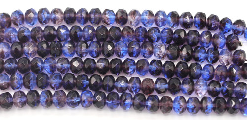20pc Strand 9x6mm Czech Fire Polished Glass Rondelle Bead, Violet/Sapphire