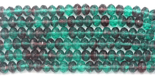 20pc Strand 9x6mm Czech Fire Polished Glass Rondelle Bead, Violet/Teal