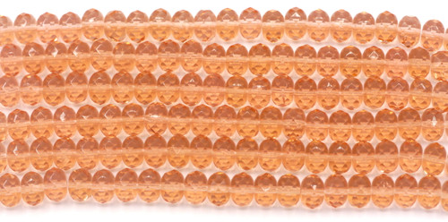 20pc Strand 9x6mm Czech Fire Polished Glass Rondelle Bead, Vintage Pink